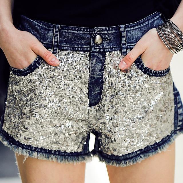 2016 verano nueva gama alta de lavado jeans pantalones cortos pantalones cortos de mezclilla y damas lentejuelas botón oscuro tendencia Necesaria femenino delgado