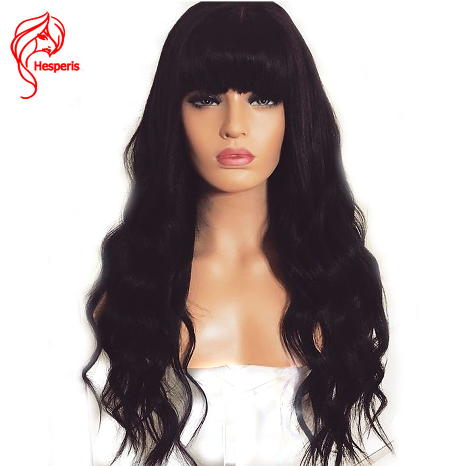 Hesperis 150 Density Loose Wave 13x6 Lace Front Human Hair Wigs With Bang Peruvian Hair Remy