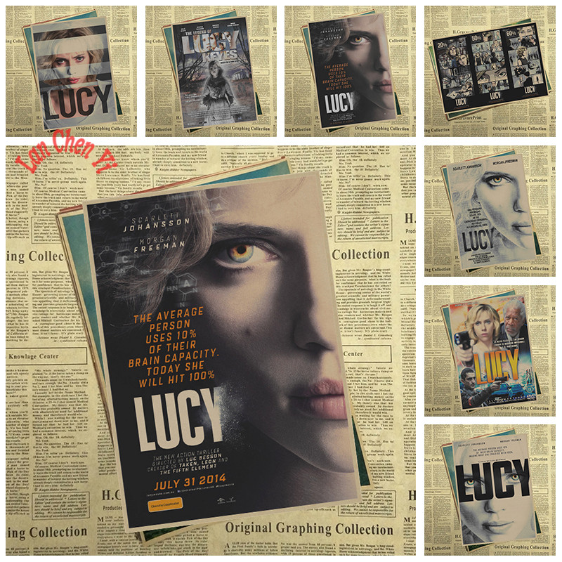 Sci fi action movie Lucy Kraft Paper Poster Office Gift Room Dining Home Decor wall sticker Design