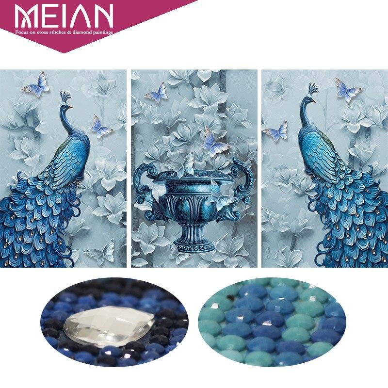 Meian, en forma especial, Diamante Bordado, animales, pavo real, completo, 5d, diy, pintura del diamante, puntada cruzada, 3D, mosaico del diamante, imágenes, decoración