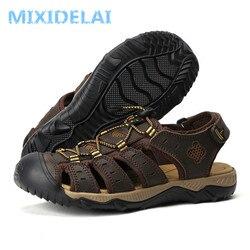 Mixidelai tamanho grande sandálias de couro genuíno dos homens novos sapatos de verão sandálias de praia para o homem da marca de moda ao ar livre tênis casuais