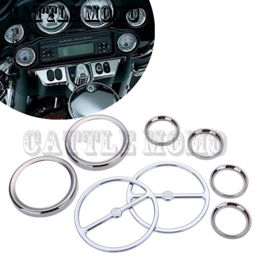 Chrome Motorcycle Stereo Accent Speaker Speedometer Trim Ring Set for Harley Ultra Classic Touring Road Glide Electra 1986-13