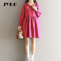 JYRO Brand Mori Women S Dresses New Pure And Fresh Checked Long Loose Large Size Above