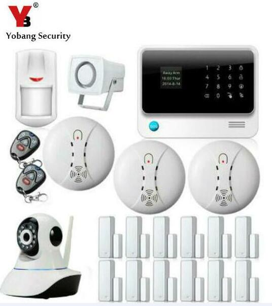 WI FI GSM Security System Android IOS APP Control Detector Sensor Home Alarm System with Wifi IP Camera Smoke Detector