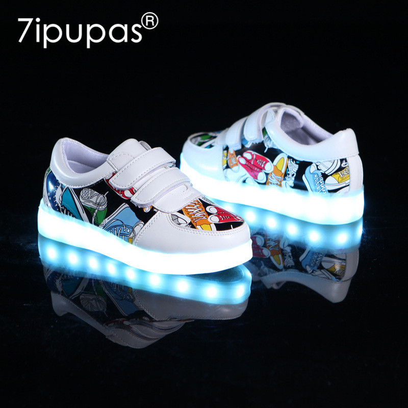7ipupas New Children's Luminous Shoes USB Charging Shoes Boy & Girls Canvas Pattern Led Shoes 7 Colors Outdoor Glowing Sneakers