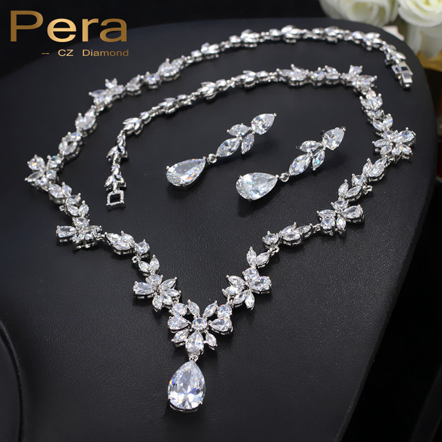 Pera Luxury Cer Flower Marquise Cubic Zirconia Drop Necklace And Earrings Bridal Wedding Costume Jewelry Set