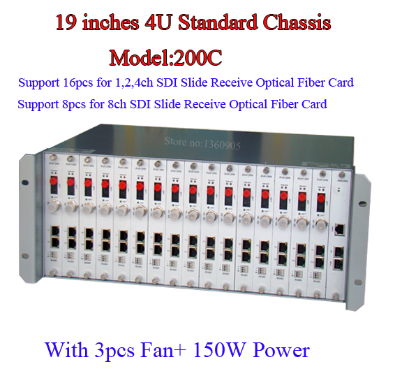 High Professional 4u Chassis 19 Inches Integrated 16pcs For 1CH 2CH 4CH HD-SDI Optical Fiber Converter Receiver Chassis 4U Case