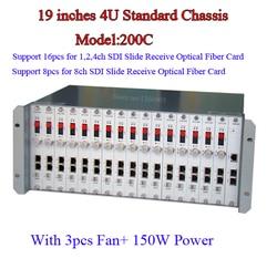 Hohe Professionelle 4u chassis 19 zoll integrierte 16 stücke für 1CH 2-KANAL 4-kanal-video-multiplexer HD-SDI Optical Fiber Converter Empfänger chassis 4U fall