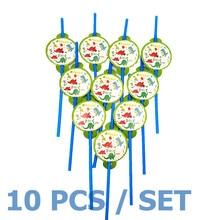 10pcs/set Straw Dinosaur Party Decoration Disposable Tableware Drinking Straws BOY Supplies BIRTHDAY