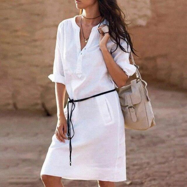נשים קיץ פשתן ארוך שרוול צווארון V גבירותיי מקרית Loose קצר שמלת חגים חופשת חוף מזדמן מוצק שמלה עם חגורה