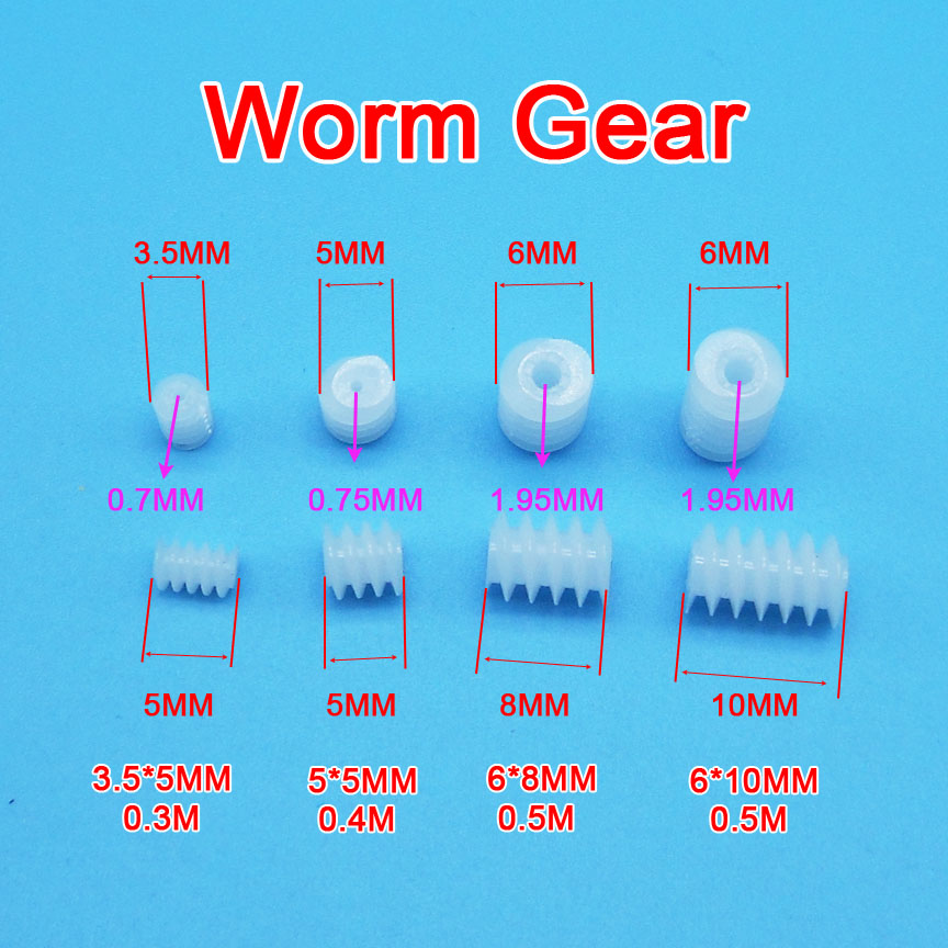 10PCS Sample Worm Gear 3.5*5mm 0.3M / 5x5mm 0.8A 0.4M / 6x8mm 6x10mm 0.5M 2A DIY Toy Models Transmission Helical Gears