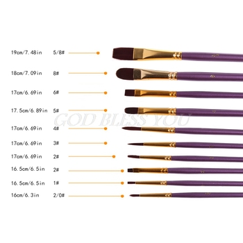 10Pcs Artist Paint Brush Set Nylon Hair Watercolor Acrylic Oil Painting Drawing Drop Shipping