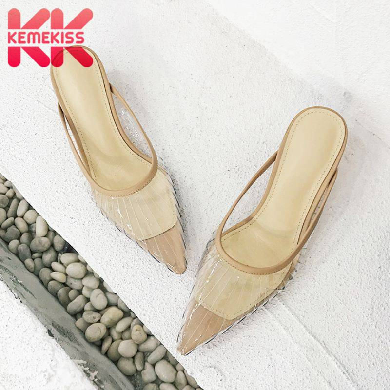 KemeKiss Women Sandals Real Leather Sole Comfort Summer Shoes Women Pointed Toe Sexy PVC Transparent Party Slippers Size 34-40KemeKiss Women Sandals Real Leather Sole Comfort Summer Shoes Women Pointed Toe Sexy PVC Transparent Party Slippers Size 34-40
