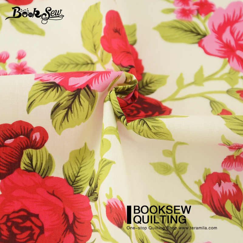 Booksew Cotton Poplin Fabric Sewing Dress Red Rose Art Work Fat Quarter Meter Home Textile Dress Pillows Shirt Dolls Crafts