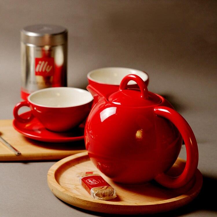 Pigmented Ceramic Tea Set Christmas Gift Coffee Cup Set Wedding Red Grey Porcelain Export Germany ASA Five piece Set Tea Pot