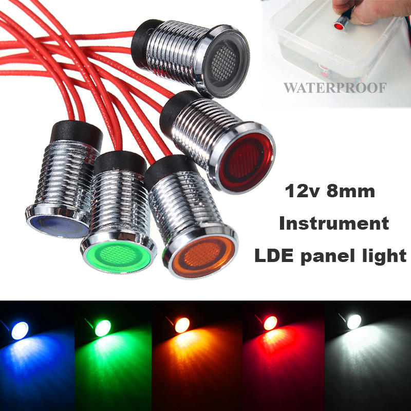 23mm Red 24v LED Round Warning Indicator Car Van Bike Dash Light Lamp