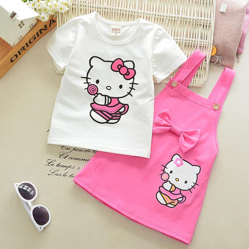 88f45ec76 2018 Girls Hello Kitty Korean Kids Clothes Children Suits Summer Baby Girl  Clothing Sets Party Pink 2pcs Skirt Set 1 3Y-in Clothing Sets from Mother &  Kids ...