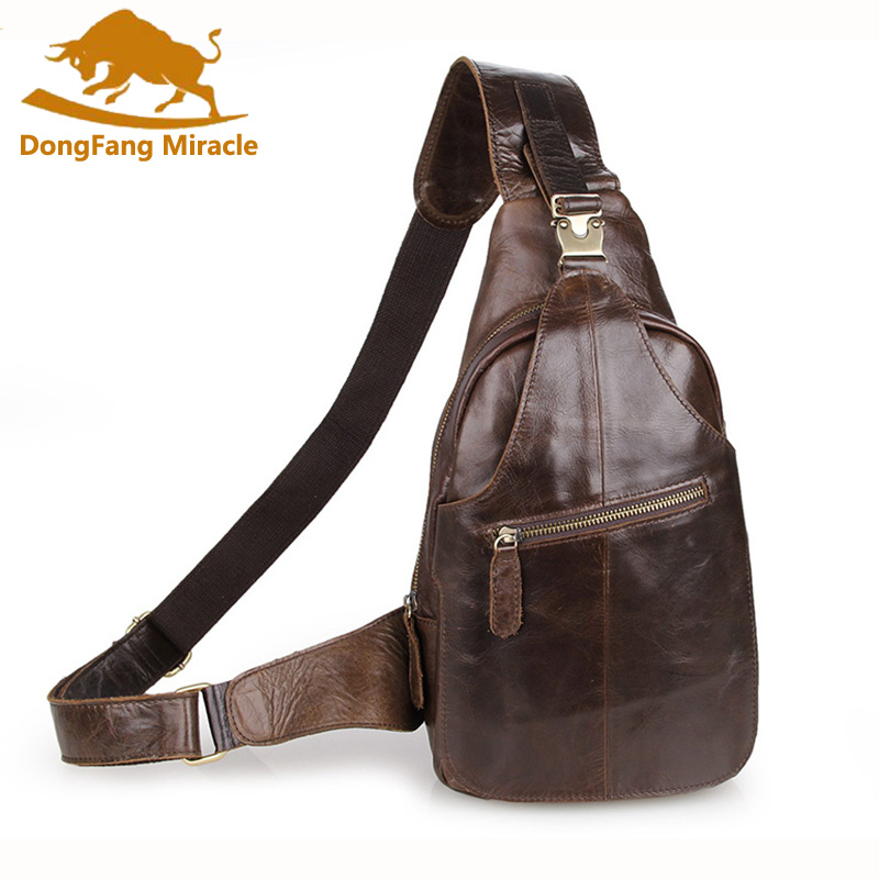 DongFang MiracleCrossbody Bags for Men Messenger Chest Bag Pack Casual Bag  Genuine leather Single Shoulder Strap Pack men s bags chest pack casual single shoulder back strap male bag split leather high capacity chest bag crossbody leather