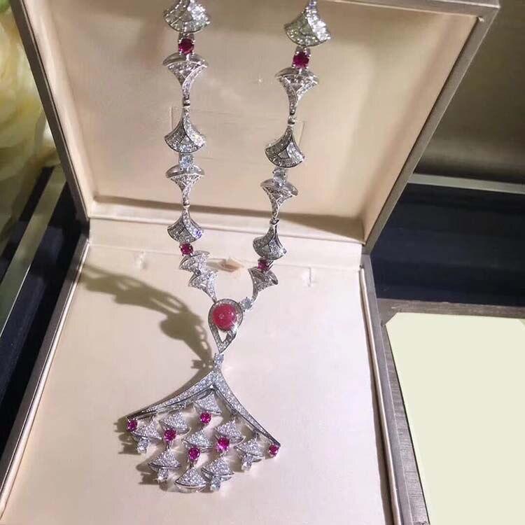 925 argent sterling zircone cristal rouge pierre naturelle ventilateur pendentif colliers fête bijoux anime pour les femmes-in Pendentifs de collier from Bijoux et Accessoires    3