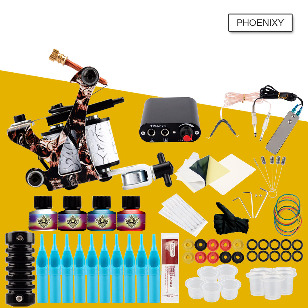 Starter Tattoo Machine Kit Set 8 Coils Guns 4 Colors Black Pigment Sets Power Tattoo Beginner Grips Kits Permanent Make upStarter Tattoo Machine Kit Set 8 Coils Guns 4 Colors Black Pigment Sets Power Tattoo Beginner Grips Kits Permanent Make up