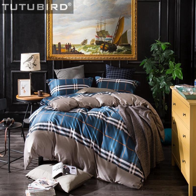 Chic Blue Beige Cotton Linen Plaid Curtains For Boys Bedroom: Luxury Egyptian Cotton Plaid Striped Sheet Linen Spread