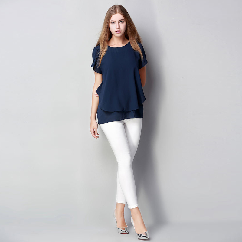 M L XL XXL 3XL 4XL 5XL Plus maat chiffon blouse 2018 Zomer O Hals - Dameskleding - Foto 3