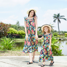 Bohemian Mother Daughter Dresses Sleeveless Floral Dress Ankle-Length Holiday Beach Dress for Spring Summer spring and summer new style seaside holiday dress solid color split strap dress open back beach dress