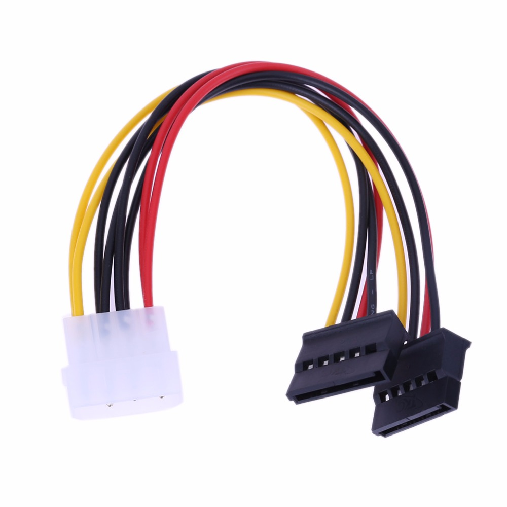 High Quality 15cm Serial ATA 4Pin IDE to 2 15 pin SATA Y Splitter Hard Drive Power Adapter Cable Computer Cables & Connectors 5pcs lot 4 pin ide male to dual sata y splitter female hdd power adapter cable for serial ata hard drives cd rom drives