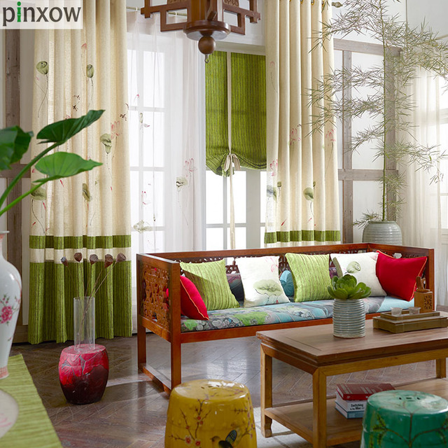 Chinese Hand Painted Curtains Cotton Linen Fabric Bedroom Drape Home Curtains  Living Room Ready Made Window