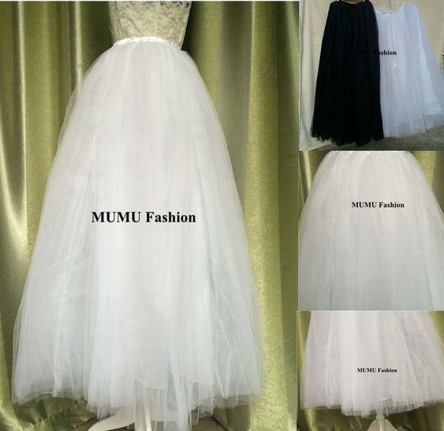 auténtico estilo máximo mejores marcas Princesa 7 layers suelo blanco largo largo Tutu tul faldas mujeres cintura  elástico bola de la boda vestidos Maxi Midi falda por encargo