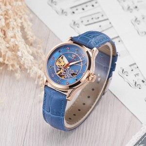 Image 3 - OUYAWEI ブランドスケルトンゴールド機械式自動腕時計女性ファッション白黒青腕時計レディース時計レロジオ Feminino