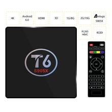 T6 ТВ коробка Android 6.0 Amlogic s905x Quad Core 1 ГБ/8 ГБ 2 г/16 г smart ТВ коробка 4 К HD медиаплеер 2.4 ГГц Wi-Fi Декодер каналов кабельного телевидения