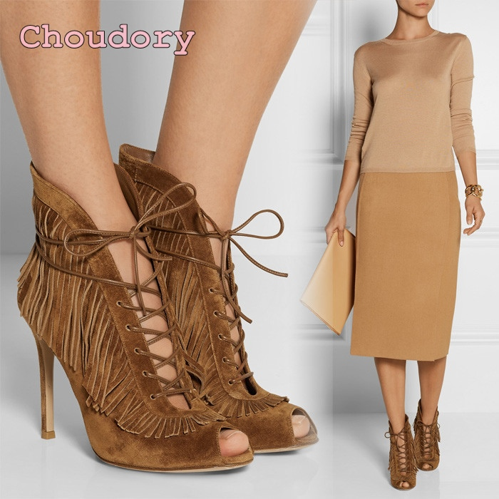Fashion woman custom shoes peep toe high-heeled elegant boots lace up stage high heels brown suede leather tassel ankle boots front lace up casual ankle boots autumn vintage brown new booties flat genuine leather suede shoes round toe fall female fashion