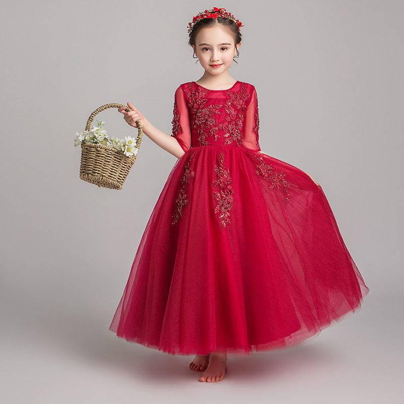 Summer Elegant Wine-red Children Girls Model Show Half Sleeves Host Pageant Prom Dress Kids Teens Birthday Wedding Party Dress