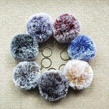 8cm Faux Rabbit Fur Ball font b Keychain b font Fur Pom Pom Keychains Llaveros Portachiavi