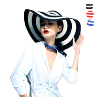 Striped Summer Sun Hats For Women Fashion Outdoor Large Beach Straw Hat 2015 Newest Casual Woman