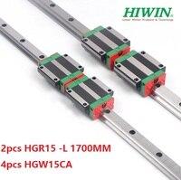 2pcs 100% original Hiwin linear rail guide HGR15 L 1700mm + 4pcs HGW15CA ( HGW15CC ) linear flanged block carriage for cnc