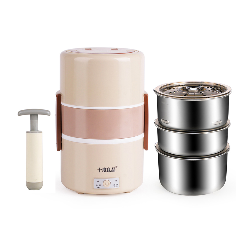 Electric Lunchbox Three Layers Vacuum Cooking Plug In Insulation Heating Steamed Rice Independent Liner Fresh 1.8L 250W