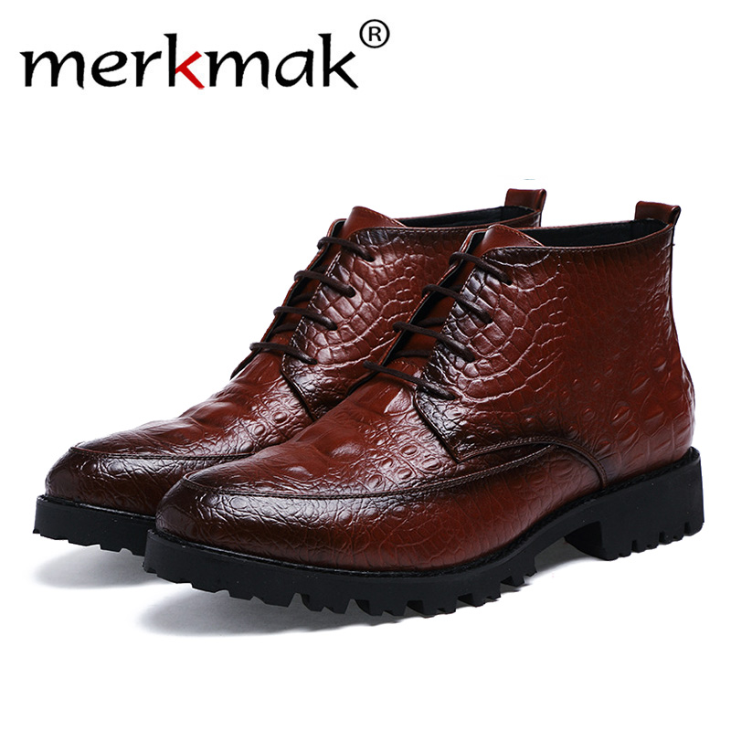 Mermak Genuine Leather Men Boots Autumn Winter Ankle Boots Fashion Footwear Lace Up Shoes Men High Quality Vintage Men Shoes SHO genuine leather men boots autumn winter ankle boots fashion footwear lace up shoes men high quality vintage men shoes qy5
