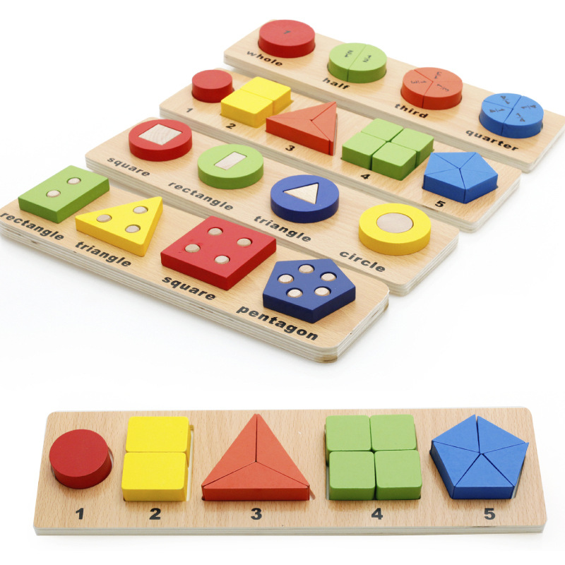 MWZ Wooden 3D Match Geometry Puzzle Montessori Early
