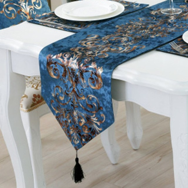 Luxury Modern Table Runner Handcraft Crafts Europe Style Hot Silver Home Table  Cloth Kitchen Dinner Room