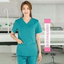 Hand-washing suit for women divided nurses short sleeve summer stomatologist brush hand men