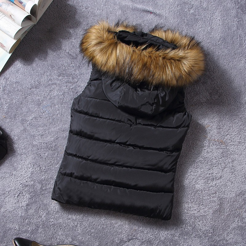down vest with fur 0W0125 black-1