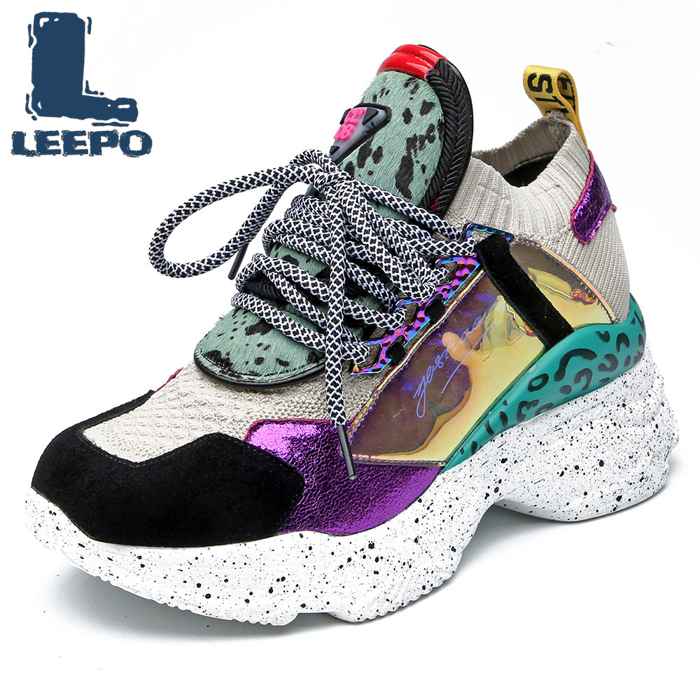 LEEPO Sneakers Flat Platform Women Shoes Genuine Leather Fashion Spring Summer Casual Shoes Woman Round Toe