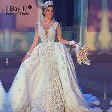 Całe z koralików suknie ślubne syrenka 2020 odpinany pociąg arabski suknia ślubna dla nowożeńców długie rękawy Sexy suknia ślubna syrenka