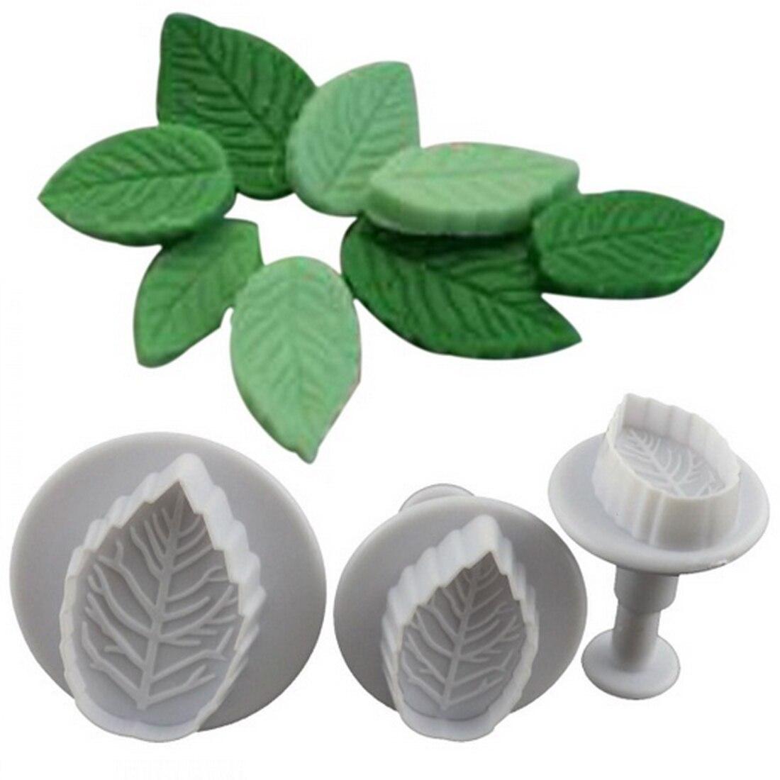 New Fashion 3Pcs/Set Rose Leaf Shape Mold Fondant Cake Sugar Craft Plunger Cutters