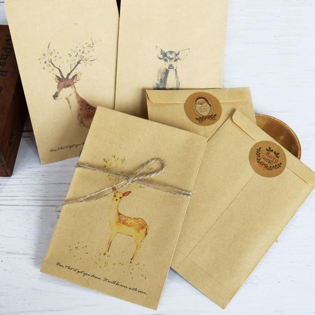 12pcs retro deer christmas envelopes santa stationery gift card
