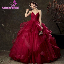 Dark Red Ball Gown Princess Prom Dresses 2019 With Straps V Neck Pleats Ruffles Floor Length Teens Formal Burgundy Party Gowns цена и фото