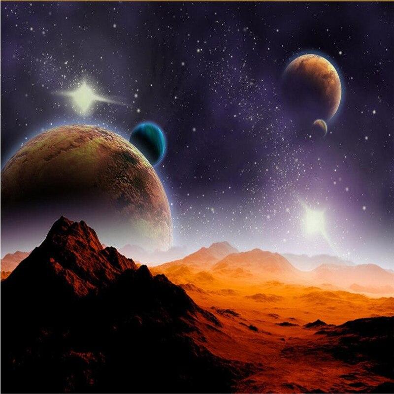 Custom Photo Wallpaper Modern Space Planet Moon Star Mars