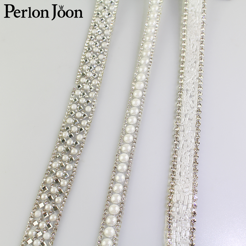 1 Yard White Pearl Rhinestone Hot Fix Tape Ribbon Glass Crystal Rhinestone Decoration Iron On Shoes Clothing Accessories TR020